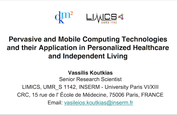 Lecture about pervasive and mobile health in DMKM Erasmus MSc, Paris
